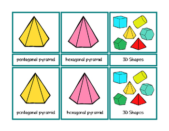 3D Shapes Montessori Three Part Cards