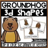 3D Shapes Vertices Task Cards Groundhog Theme