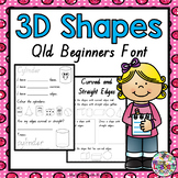3D Shapes Worksheets QLD Beginners Font