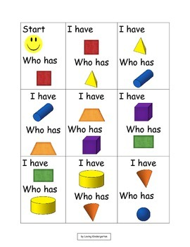 3D Shapes and 2D Shapes Game: I Have Who Has