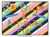 3D Shapes and Attributes Fun (Common Core Aligned)