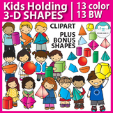 3D Shapes and Kids Clip Art