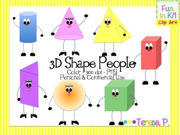 3D Shapes and Shape People Clipart