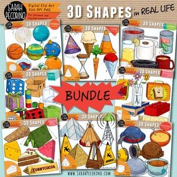 3D Shapes in Real Life Clip Art Bundle