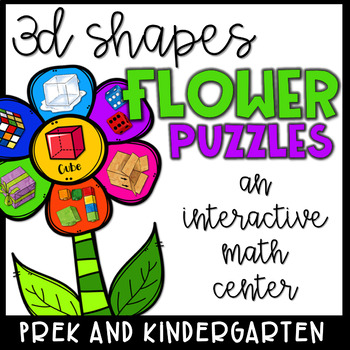 3D Shapes Math Center- Flower Puzzles