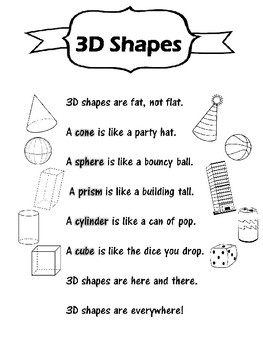 3D Shapes (poem + practice sheet)