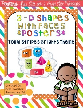 3D Shapes with Faces Posters - Full and Half Size {Bright Tonal Stripes)