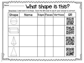 3D Shapes with QR Codes Freebie