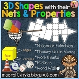 3D Shapes Worksheets - Sorting Activities - Nets - Posters
