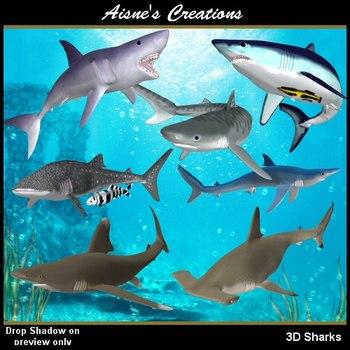 3D Sharks Graphics Pack