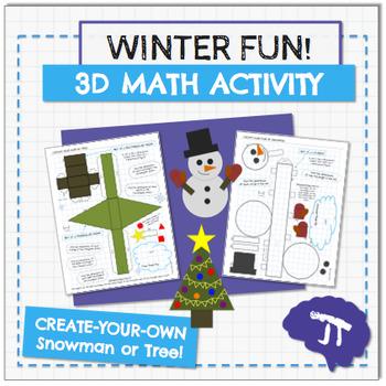 3D Snowman and Tree Math Winter Activity
