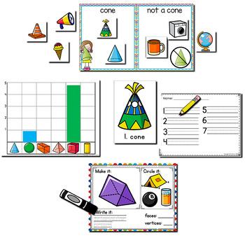 3D Solid Shape Pack   Kindergarten Math Centers