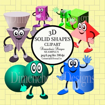 Clipart:  3D Solid Shapes with Characters (sphere, cone, cylinder & more)