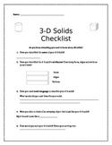 3D Solids Checklist - Assessment Tool