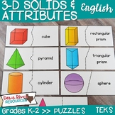3D Solids and Their Attributes Puzzles | Three-Dimensional