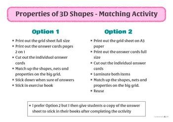 3D Solids property match up activity
