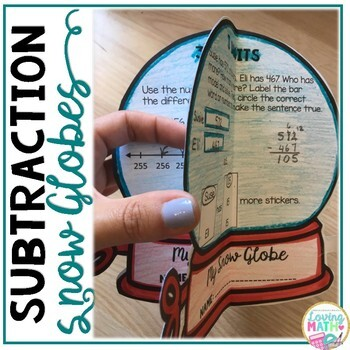 2 and 3 Digit Subtraction with Regrouping 3D Craft - Winter Math