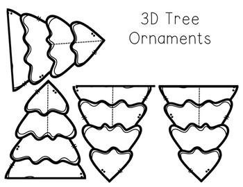 3D Christmas Table Decorations/Tree Ornaments: Trees, ornaments, presents
