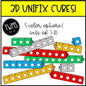 3d unifix cube clip art by teaching with mrs stober tpt rh teacherspayteachers com Unifix Cube Templates to Print Connecting Cubes Clip Art