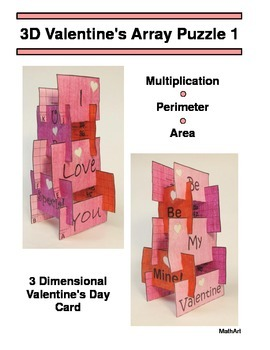 3D Valentine's Day Array Puzzle, Perimeter & Area, Rows an