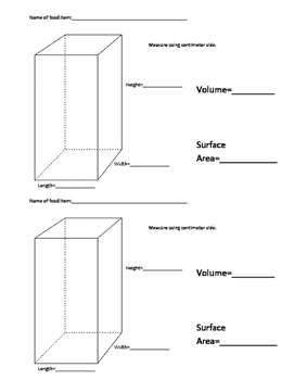 3D Volume and Surface Area Activity