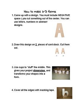 3D letter / form instruction sheet