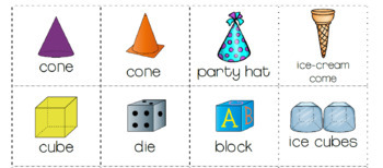 3D objects SHAPES match and sort NETS and REAL LIFE OBJECTS