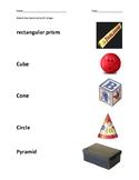 3D shape Assessment/Worksheet