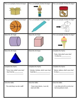 3D shape game cards. Use for Jeopardy...KABOOM..any skill
