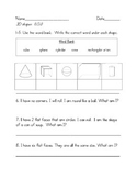 3D shapes Assessment- First Grade