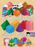 3D shapes clipart set