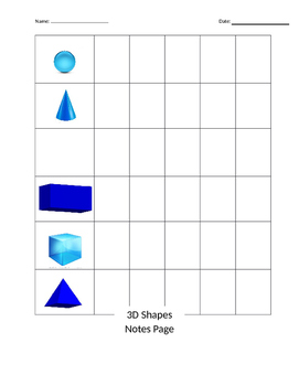 3D shapes notes page