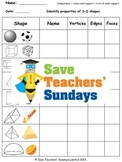 3D Shapes Worksheets (3 levels of difficulty)