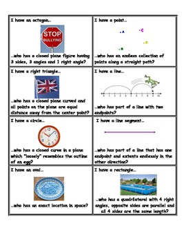 3.G.1 I Have -- Who Has-- Geometry Game
