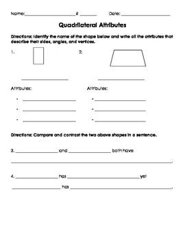 3G.1 Quadrilateral Attribute Homework