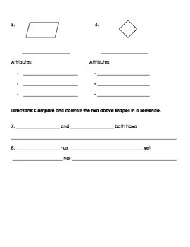 3G.1 Quadrilateral Attribute Homework 2