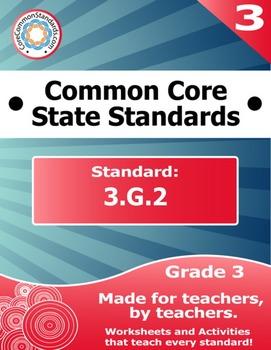 3.G.2 Third Grade Common Core Bundle - Worksheet, Activity, Poster, Assessment