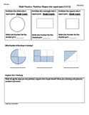 (3.G.2) Partition Shapes  3rd Grade Common Core Math Worksheets- 3rd 9 Weeks