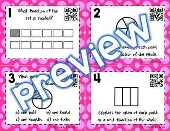 3G2 Partitioning Shapes Into Unit Fractions *QR* MATH TASK CARDS