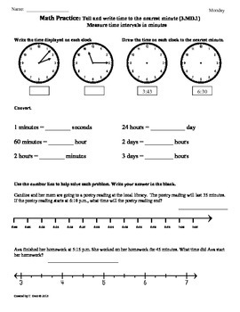 (3.MD.1) Elapsed Time part1 -3rd Grade Common Core Math Worksheets -4th 9  Weeks
