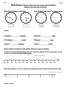 3.MD.1) Elapsed Time part1 -3rd Grade Common Core Math Worksheets ...