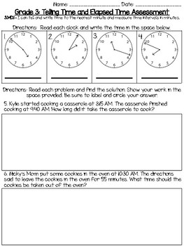 3MD1 Elapsed Time Common Core Assessment