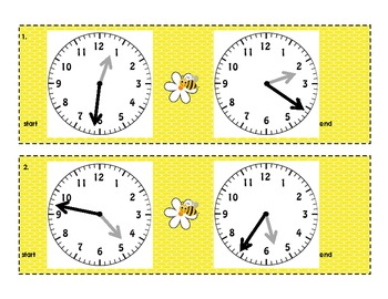 3.MD.1 Elapsed Time on a Number Line Task Cards (with clocks to the minute)