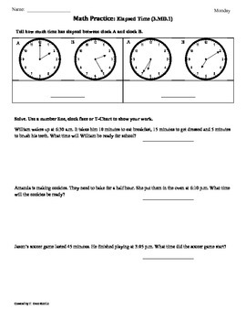 (3.MD.1) Elapsed Time part2 -3rd Grade Common Core Math Worksheets -4th 9 Weeks