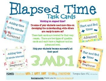 3.MD.1 Elapsed Time Task Cards Multi-Leveled