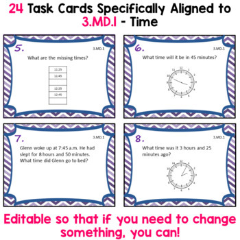 Time Task Cards - 3.MD.1