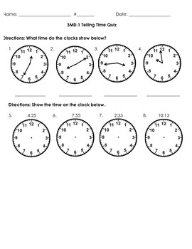 3MD.1 Telling Time Quiz