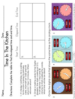 3.MD.1 Third Grade Common Core Worksheets, Activity, and Poster