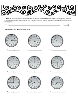 3.MD.1 Time to the Nearest Minute/Elapsed Time Practice Sheets