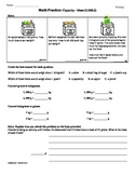 (3.MD.2)Capacity/Mass -3rd Grade Common Core Math Worksheets - 4th 9 Weeks